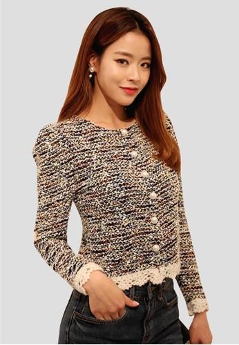 混雜配色開衫zalora 評價, 服飾, 毛衣& 針織外套