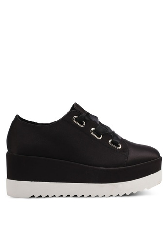 LOST INK black Seren Eyelet Flatform Trainers LO238SH0T1QZMY_1