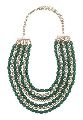 Layered Drape Bead & Ring Chain Necklace, 飾品esprit台灣官網配件, 項鍊