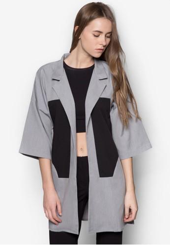 色塊拼接長版開襟外套, 服飾, 西裝zalora鞋外套