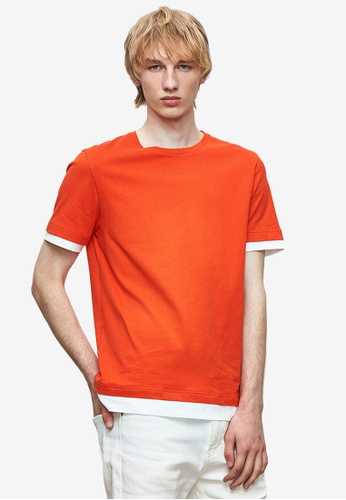 URBAN REVIVO red Trimmed T-Shirt 29A8AAA7CE0BE1GS_1