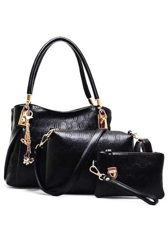 LULUGIFT black Set of 3 European design Leather Handbag Black LU989AC33QLUMY_1