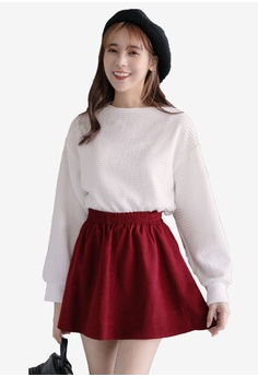 b3c8d95586a Eyescream white 2 Piece Textured Top And Skater Skirt Set 9E733AAC1852CAGS 1