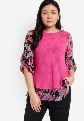 Ex'otico pink Plus Size 2 Layer Printed Blouse EX373AA30OAJMY_1