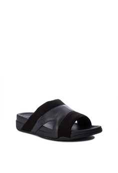 556cf13f5 Fitflop Freeway Pool Slide In Leather Canvas Mix Php 4