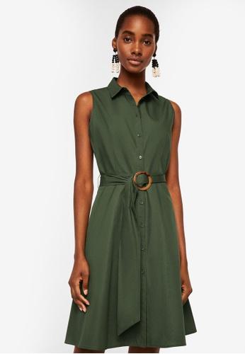 Mango green Belt Shirt Dress 3B4E2AA36F2626GS_1