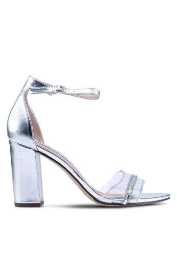 Steve Madden silver Bibi-R Open Toe Ankle Strap Block Heels B22A3SH58ABCF3GS_1