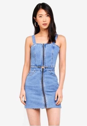 Bardot blue Denim Zip Front Dress A5801AA70CEAECGS_1