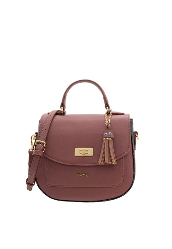 SEMBONIA purple SEMBONIA Synthetic Leather Trimmed Coated Canvas Satchel Bag (Purple) SE598AC19OPGMY_1