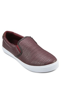 Faux Lizard Leather Slip On Sneakers