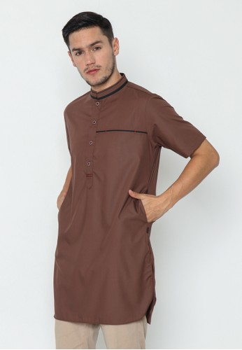 AL-LUTHFI brown Kurta Lengan Pendek Khalid - Brown 1BBBDAA7D191C2GS_1