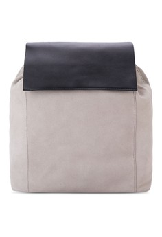 Lapel Suede Backpack