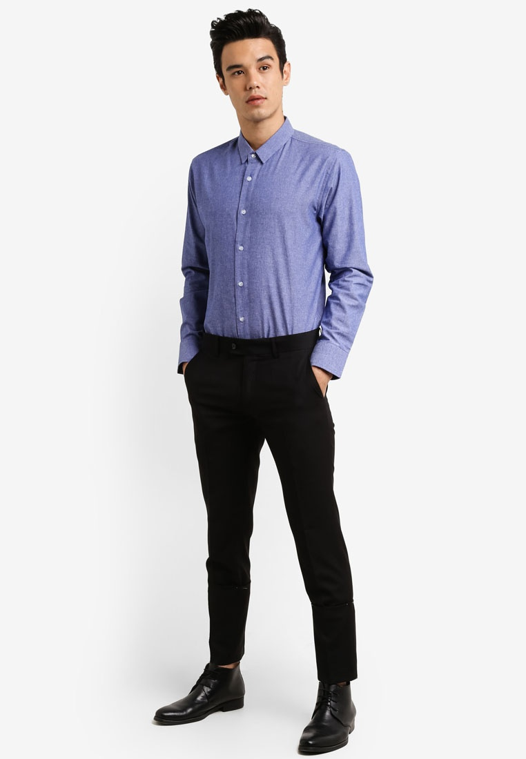 Blue Shirt Pack Slim Fit Black Long 2 Sleeve Chambray ZALORA TzY7w