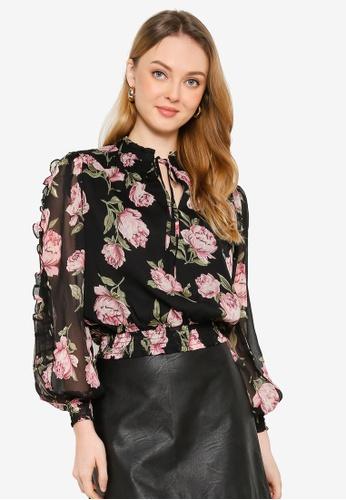 Miss Selfridge black Petite Black Floral Blouse FFB08AA5906D64GS_1