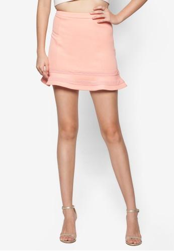 網眼邊飾zalora 內衣喇叭短裙, 服飾, 裙子