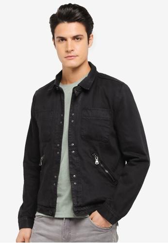 CR7 black Workman Style Denim Jacket CR532AA0SZ90MY_1