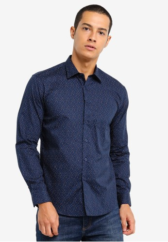 Electro Denim Lab blue Printed Shirt 5D23EAA84A7E04GS_1