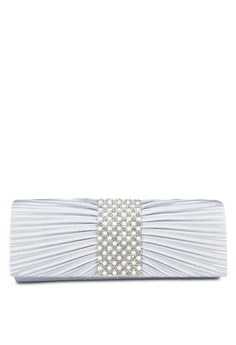 UNISA Pleated Dinner Clutch with Glittering Pearl & Crystal Embellishment