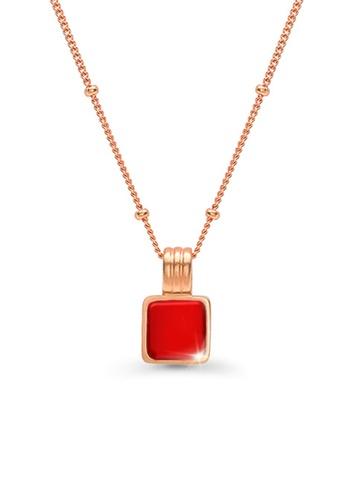 CELOVIS red and gold CELOVIS - Cole Red Square Pendant Necklace 43E3CACC7C7198GS_1