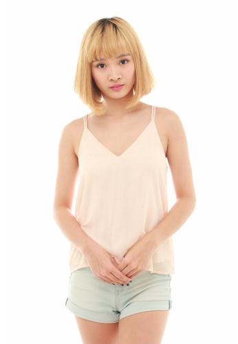 LUXORA pink Glittering Pink Chiffon Stripe Top LU926AA64QDNSG_1