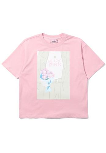 b+ab pink Graphic print tee 86252AAB776611GS_1