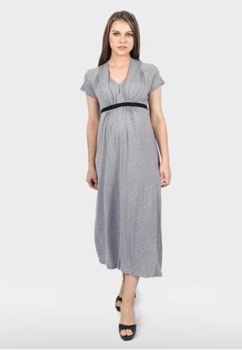 54f26945089 Buy 9months Maternity Grey Sash-Tie Nursing Midi Dress | ZALORA HK