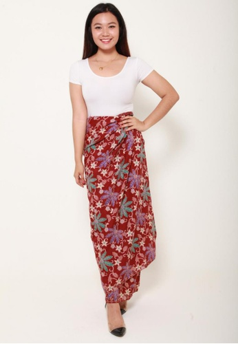 Naphthys Collection red and multi Batik Skirt/Sarong 715D4AA205ACADGS_1