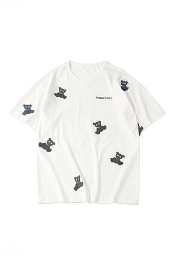 Twenty Eight Shoes white VANSA Unisex Reflective Bear Short sleeve T-Shirt VCU-T1014 4929EAAFADC604GS_1