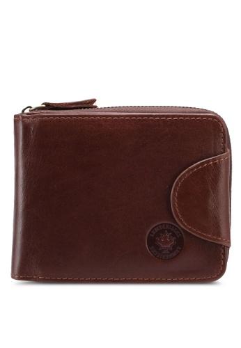 Lumberjacks brown Lumberjacks Genuine Leather Zipper Wallet 5780DAC0750C5AGS_1