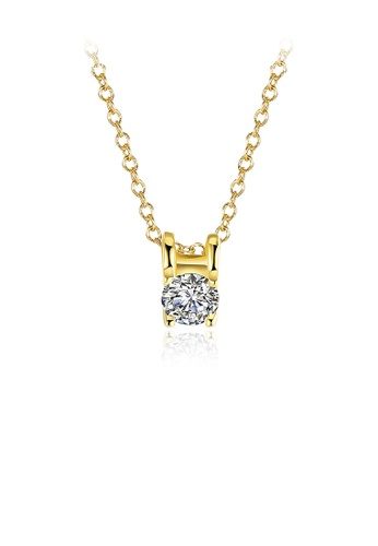 Glamorousky white Simple Gold-plated Pendant with Austrian Element Crystal and Necklace 2C057ACBD03539GS_1