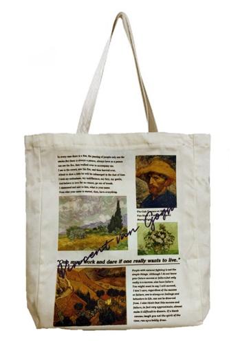 Sunnydaysweety 米褐色 油畫圖單肩手提環保購物袋 CA072930 57668AC86FA4D1GS_1