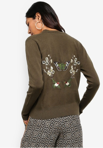 Hopeshow green Cardigan With Floral Embroidery Back 95FEDAAEE9AF7CGS_1