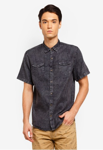 Fidelio black Printed Pattern Washed Denim Shirt A6210AA20A4675GS_1