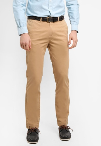 Brooks Brothers beige Red Fleece Slim Chino Tan Pants C692CAA8B1AFE7GS_1