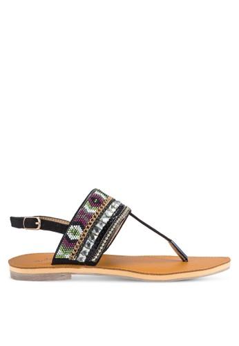 Skyesprit手錶專櫃ler 民族風串珠T 字帶平底涼鞋, 女鞋, 涼鞋