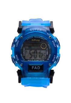 XINJIA FAD Water Resistant Sports Digital Blue Plastic Strap Watch 659
