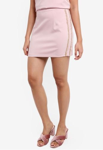 Something Borrowed pink and multi Beaded Stripes Mini Skirt 706A1AADDFA8A0GS_1