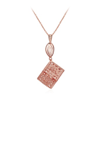 Glamorousky silver Plated Rose Gold Square Pendant with Necklace 5C3C1ACD8F761DGS_1
