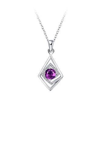 Glamorousky white Fashion Classic Geometric Rhombus with Purple Cubic Zircon and Necklace B084BACA188CF2GS_1