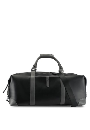 ZALORA black Faux Leather Duffel Bag 090A0AC376B1EDGS_1
