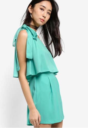 Miss Selfridge green One Shoulder Bow Playsuit MI665AA39QKQMY_1