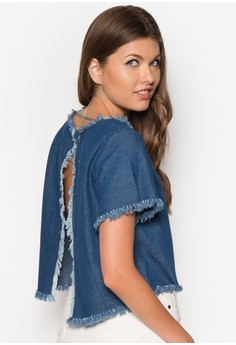 Frayed Edge Chambray Cropped Top