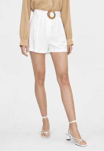 Pomelo white Purpose Buckle Belted Shorts - White AD42EAAEE3EF0DGS_1