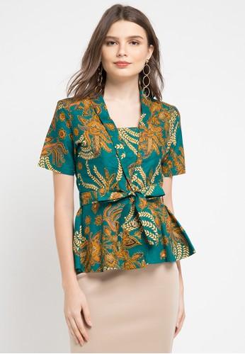 Adikusuma green and blue and multi Blouse Batik 13CC2AAD13CA37GS_1