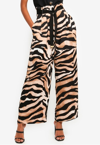 River Island brown and multi Tiger Print Wide Leg Trousers - Matching Set 14B0CAA54CBC26GS_1