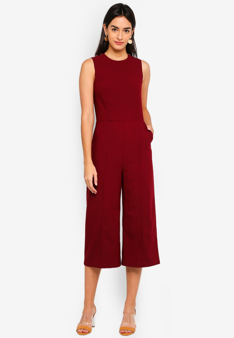 Detail Poppers Metal Burgundy Jumpsuit ZALORA qXfw5EX