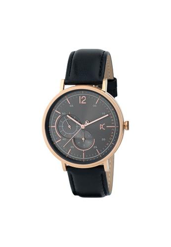 Pierre Cardin Watches black Bonne Nouvelle Stride Mens Black and Gold Leather Watch 42 mm D8EA6ACFEDFAEFGS_1