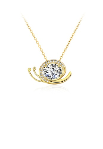 Glamorousky white Simple and Cute Plated Gold Snail Pendant with White Cubic Zircon and Necklace FA01FAC5098F8CGS_1