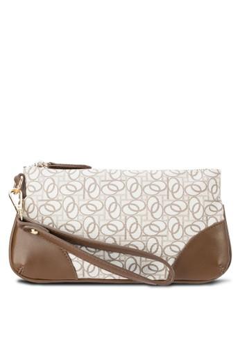仿皮拼接印花手拿包, 包, 皮夾及零esprit tote bag錢包