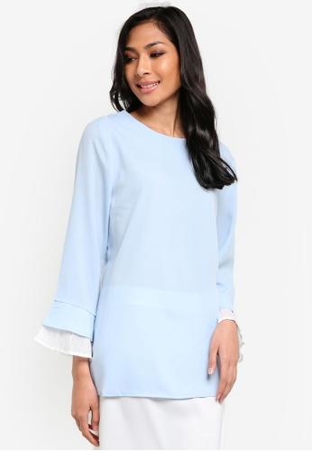 BYN blue Pleated Sleeves Top BY059AA38VKJMY_1